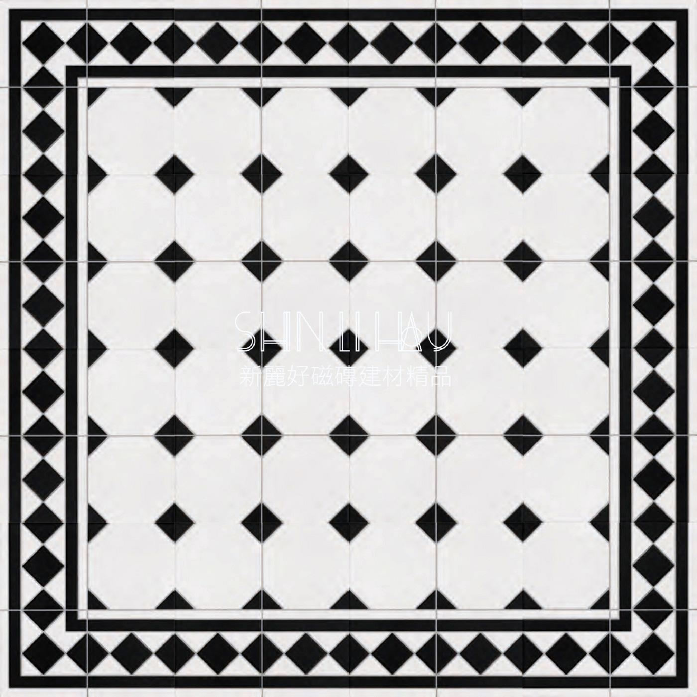 黑白棋盤格馬賽克組花磚-引領空間藝術美學新格調【一個戀家的開始...愛上新古典風格】 - 素花
