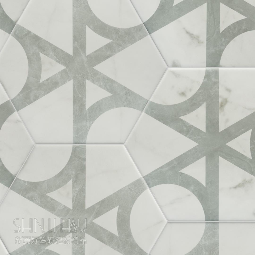 簡藝六角磚 - 卡拉拉抽象花磚