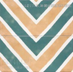 橘綠條紋花磚