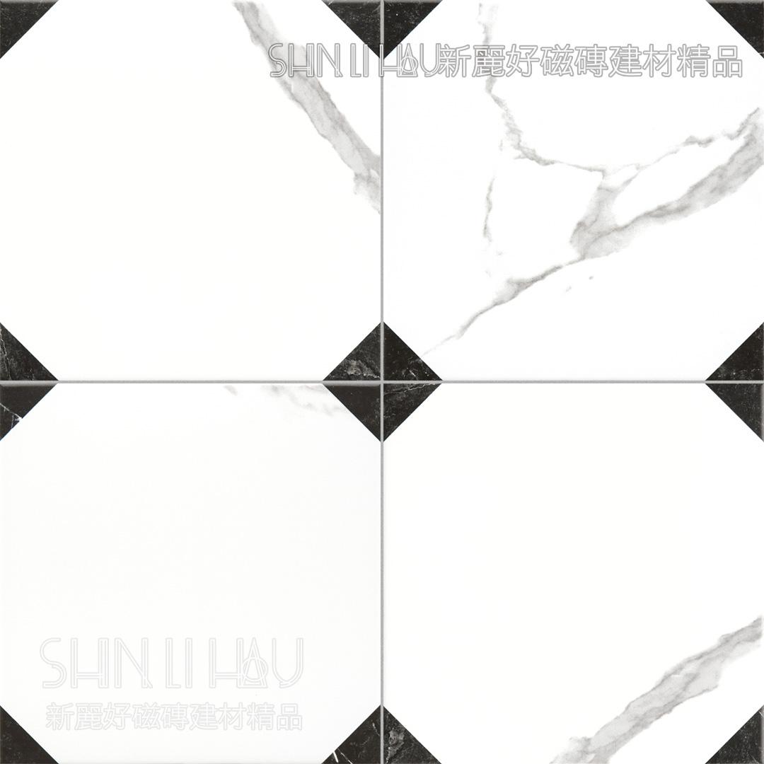 樂創黑白大理石紋拼花磚 - 經典