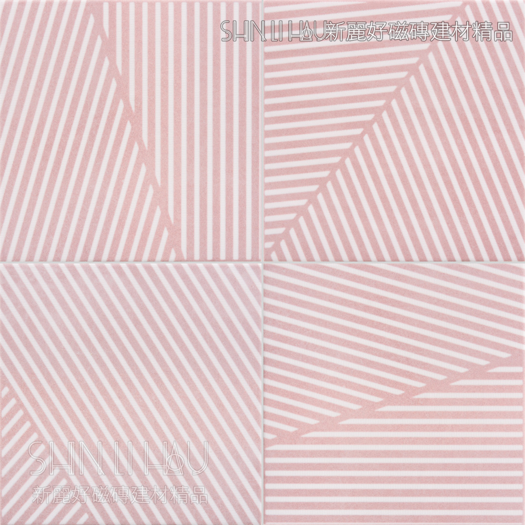 春紛石英純色磚 - 幾何線條粉紅霧花磚