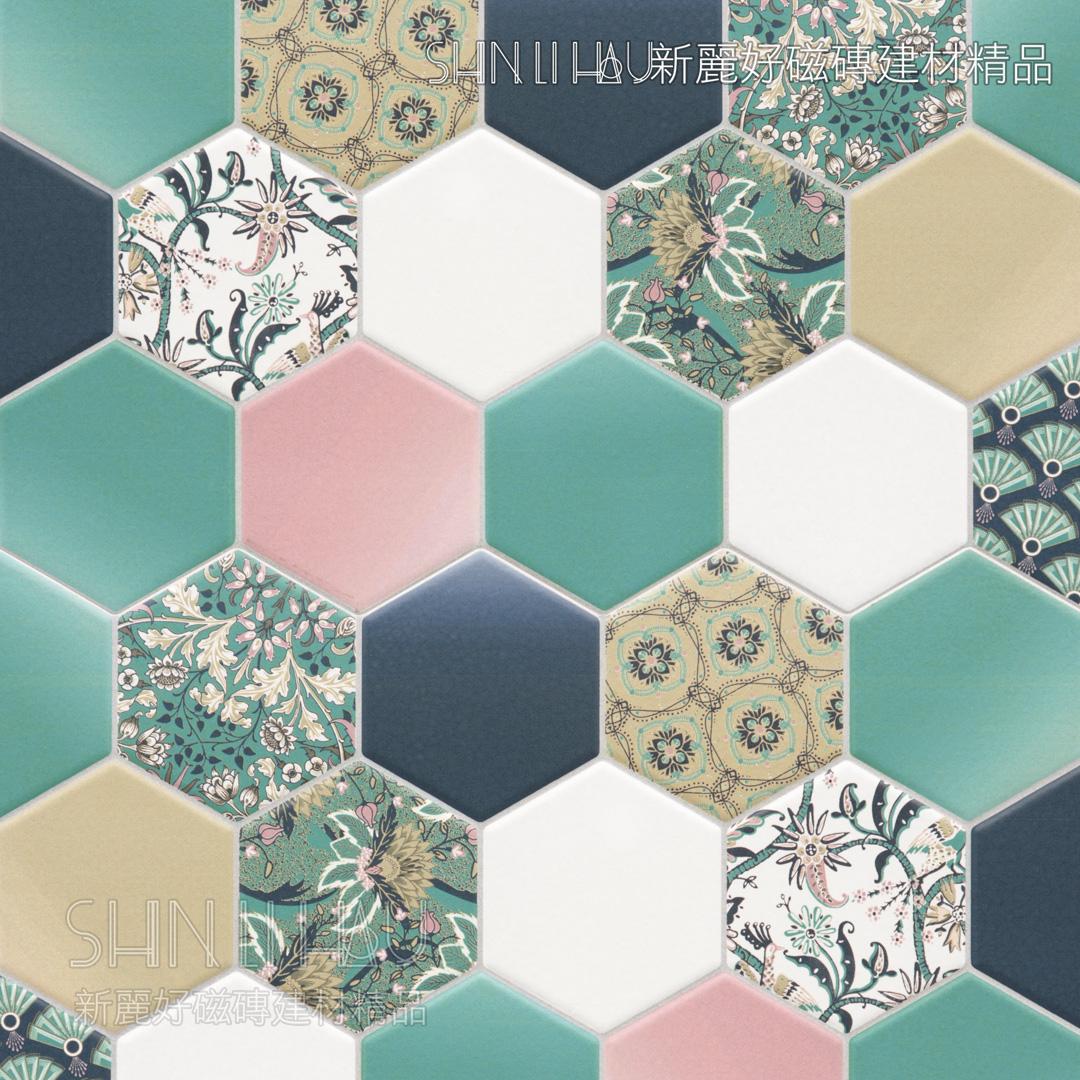 域芬六角系列 - 綠花磚
