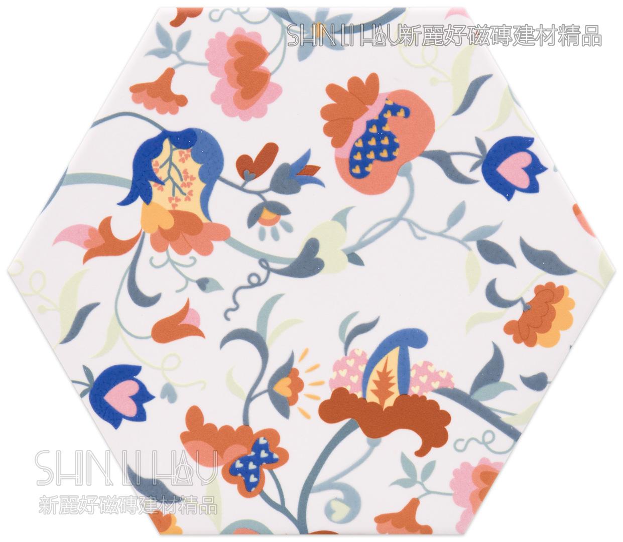 織彩六角磚-亮面 - 春花